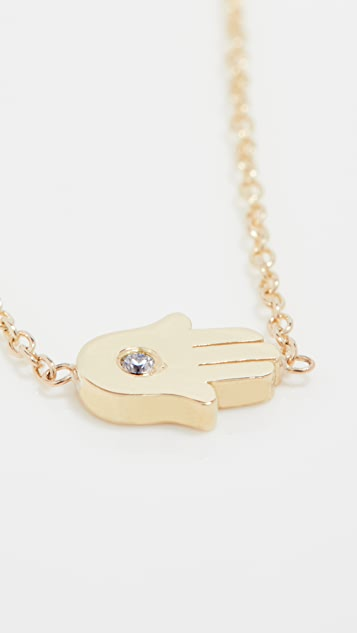 Jennifer Meyer Jewelry Mini Hamsa Necklace With Diamond Accent