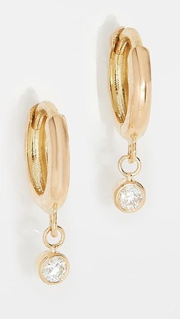 Jennifer Meyer Jewelry Huggies With Mini Diamond Bezel Drop