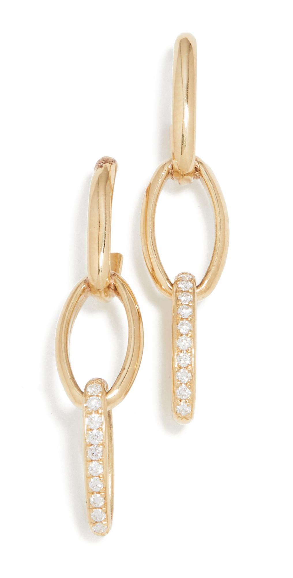 3 Edith Link Studs with Diamond Pave Accent