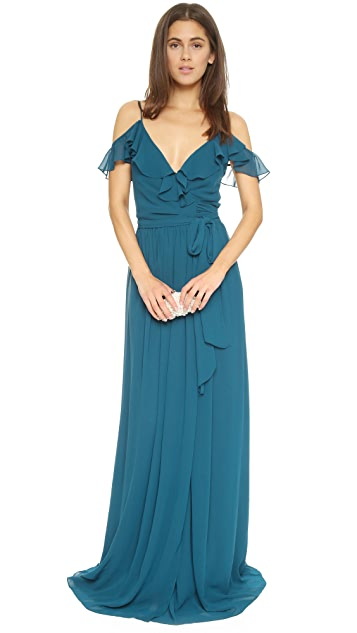 Joanna August Portia Off Shoulder Wrap Dress - Sea Of Love