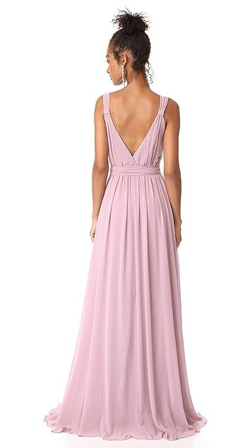 Joanna August Cindy Pleated Wrap Gown