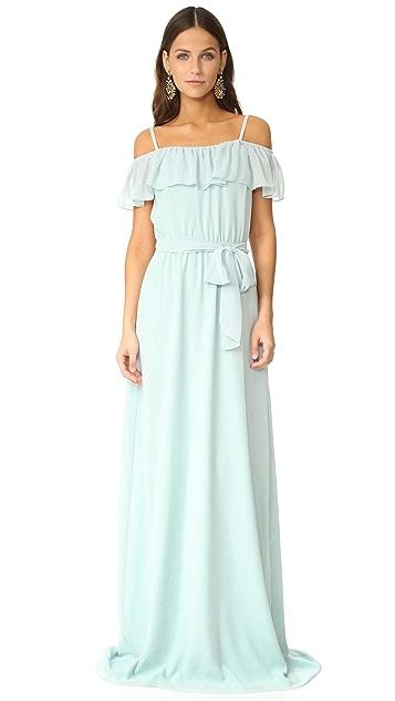 Joanna August Nikki Off Shoulder Ruffle Gown