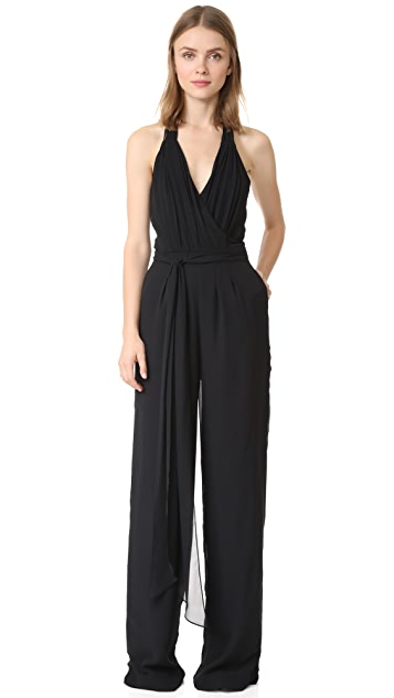 Joanna August Scarlette Pleated Halter Jumpsuit