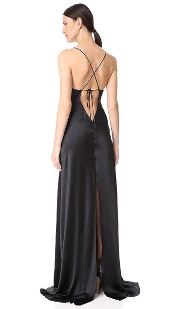 Juan Carlos Obando Satin Cowl Neck Gown
