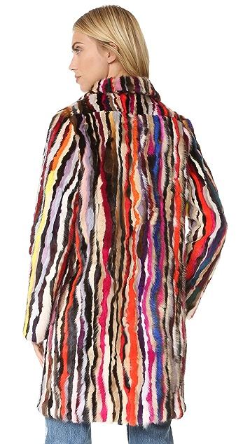 Jocelyn Mink Pieces Notch Collar Coat