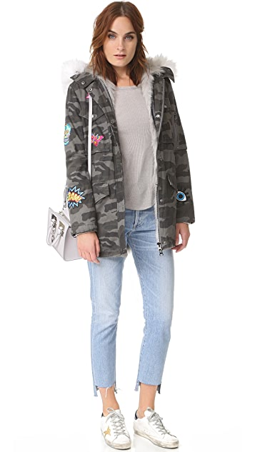 Jocelyn Grey Camo Cargo Coat