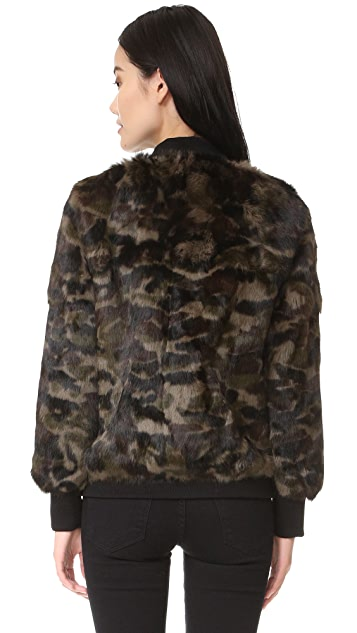 Jocelyn Long Hair Rabbit Bomber Jacket