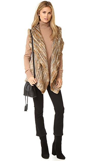 Jocelyn Sheared Asymmetrical Rabbit Vest