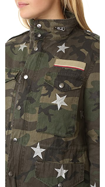Jocelyn Green Camo Star Print Fox Trim Jacket