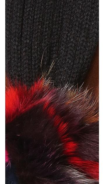 Jocelyn Knit Scarf with Fox Fur Pom Pom
