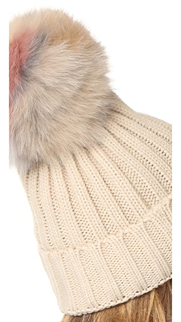 Jocelyn Knit Hat with Fur Pom