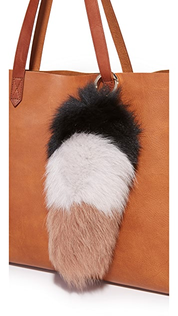 Jocelyn Colorblock Fox Tail Bag Charm