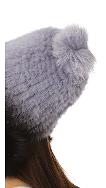 Jocelyn Mink Tails Beanie with Fur Pom Pom