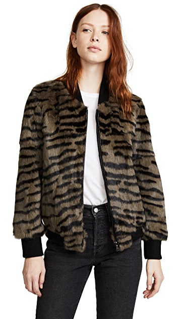 Jocelyn Tiger Print Rabbit Bomber Jacket
