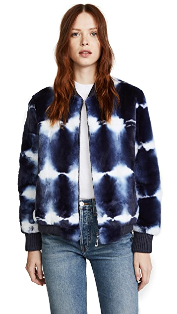 Jocelyn Tie Dye Fur Bomber Jacket