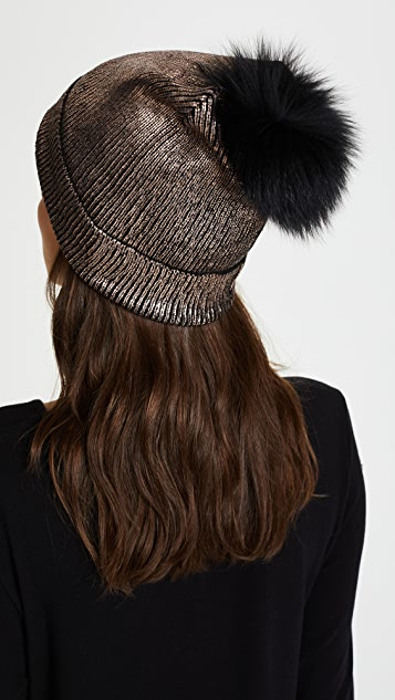 Jocelyn Metallic Beanie Pom Hat