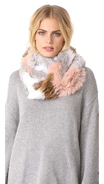 Jocelyn Chevron Knitted Fur Infinity Scarf