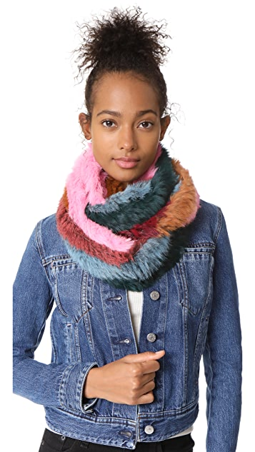 Jocelyn Stripe Fur Infinity Scarf