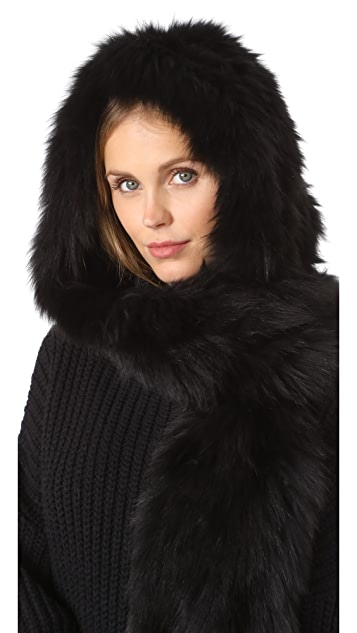 Jocelyn Fur Hooded Scarf With Pockets