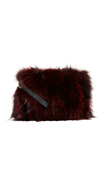Jocelyn Silver Fox Clutch