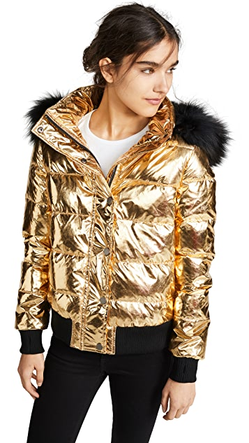 Jocelyn Quilted Down Jacket with Fur Trim
