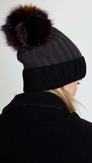 Jocelyn Трикотажная шапка с помпоном из лисьего меха
