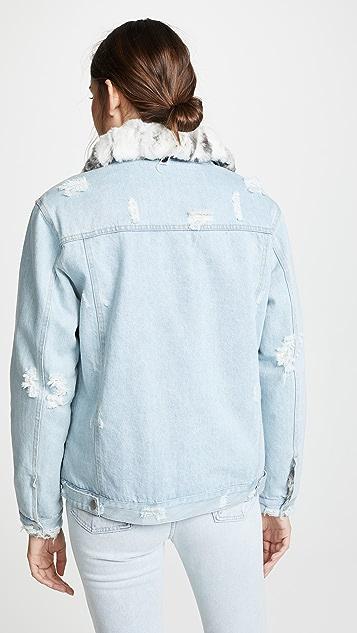 Jocelyn Reversible Rabbit Fur Denim Jacket