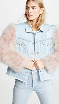 Cropped Denim Jacket with Detachable Feather Sleeves