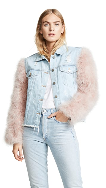 Jocelyn Cropped Denim Jacket with Detachable Feather Sleeves