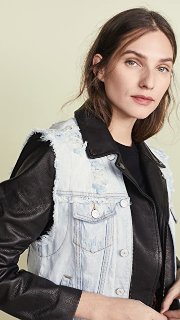 Jocelyn Denim Vest Leather Jacket