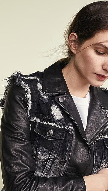Jocelyn Denim Vest Leather Lab Jacket