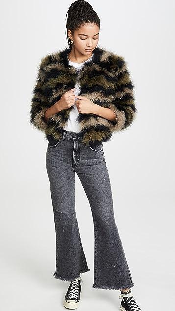 Jocelyn Fifi 迷彩羽毛针织短外套