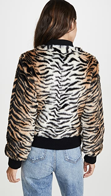 Jocelyn Faux Fur Tiger Bomber Jacket