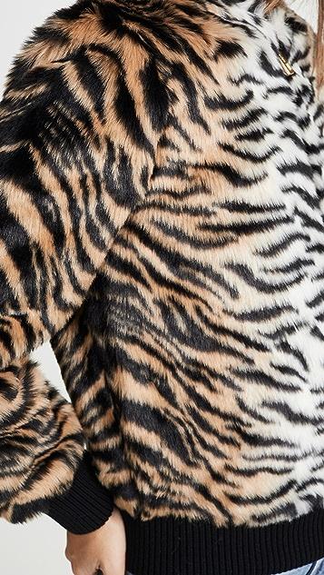 Jocelyn Бомбер из искусственного меха с изображением тигра