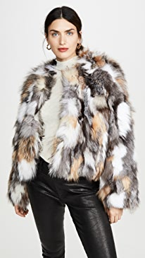 Natural Multi Silver Fox Chubby Jacket