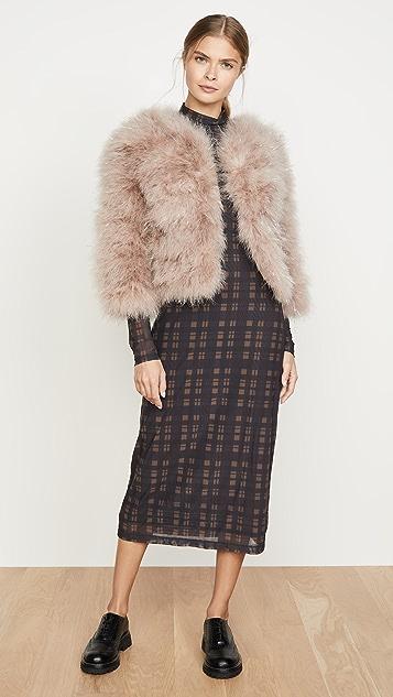 Jocelyn Fifi 金属色丝线羽毛针织短外套