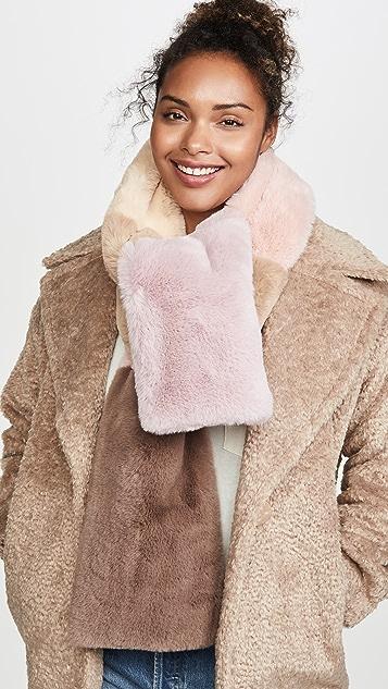 Jocelyn Accessories Faux Fur Wide Colorblock Scarf