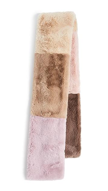 Jocelyn Faux Fur Wide Colorblock Scarf
