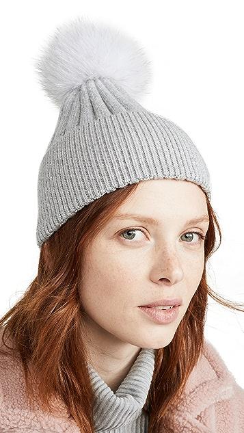 Jocelyn Knit Hat With Pastel Multi Fox Pom