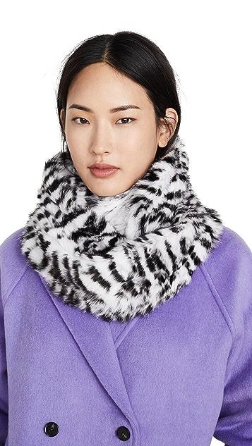 Jocelyn Вязаный шарф-снуд из длинноворсового меха кролика с принтом