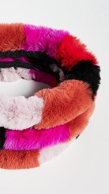 Jocelyn Шарф-хомут из искусственного меха с тремя разноцветными рядами