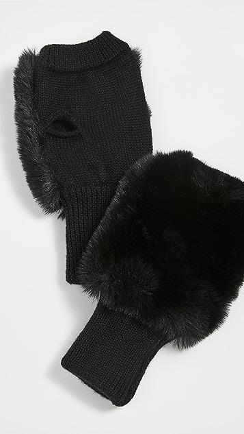 Jocelyn Faux Fur Pull Thru Scarf & Mittens Set