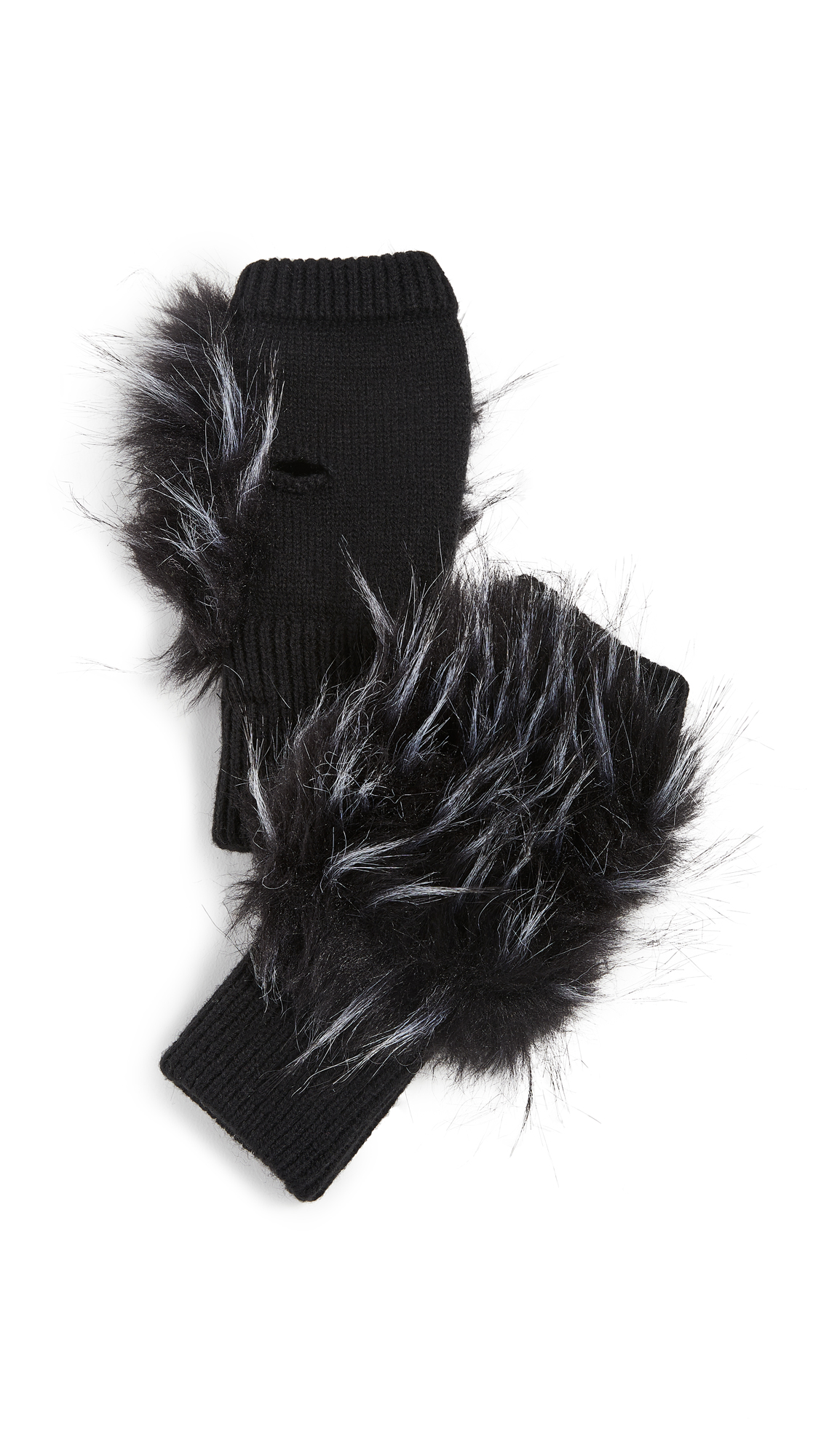 Jocelyn Long Hair Faux Fur Texty Time Mitten