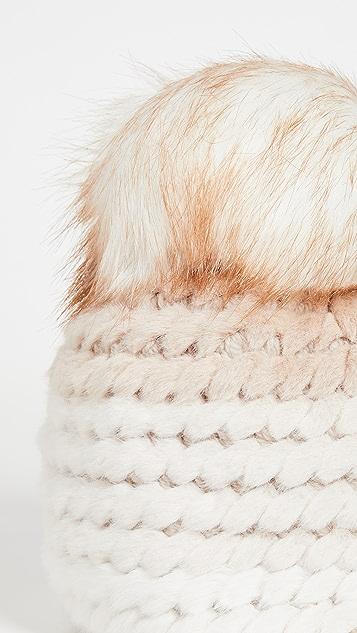 Jocelyn Colorblock Faux Fur Pineapple Hat with Faux Fur Pom