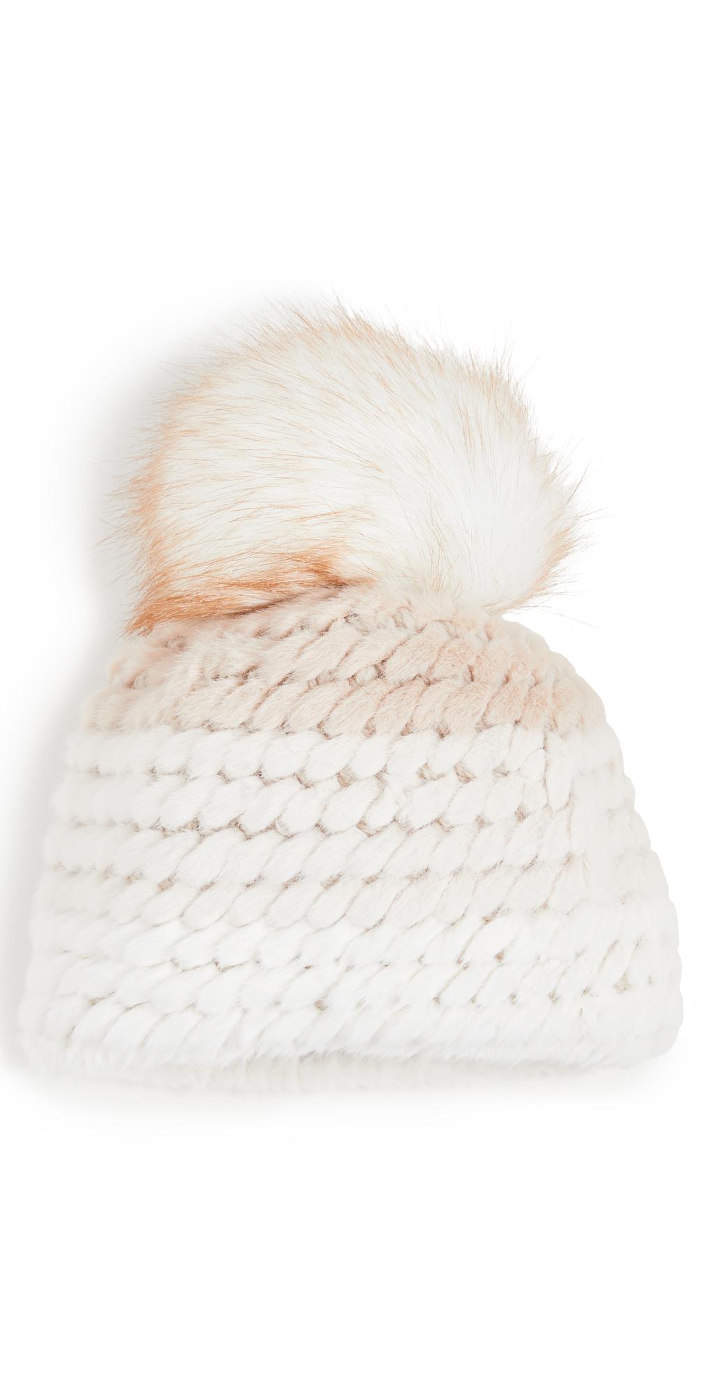 Colorblock Faux Fur Pineapple Hat with Faux Fur Pom