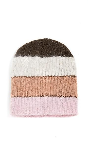 Jocelyn 金属色宽条纹帽子