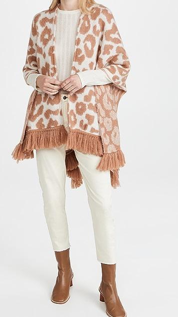 Jocelyn 动物提花起绒羊驼毛混纺羊毛厚外套
