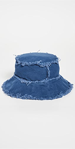 Jocelyn - Cotton Canvas Bucket Hat with Frayed Edges