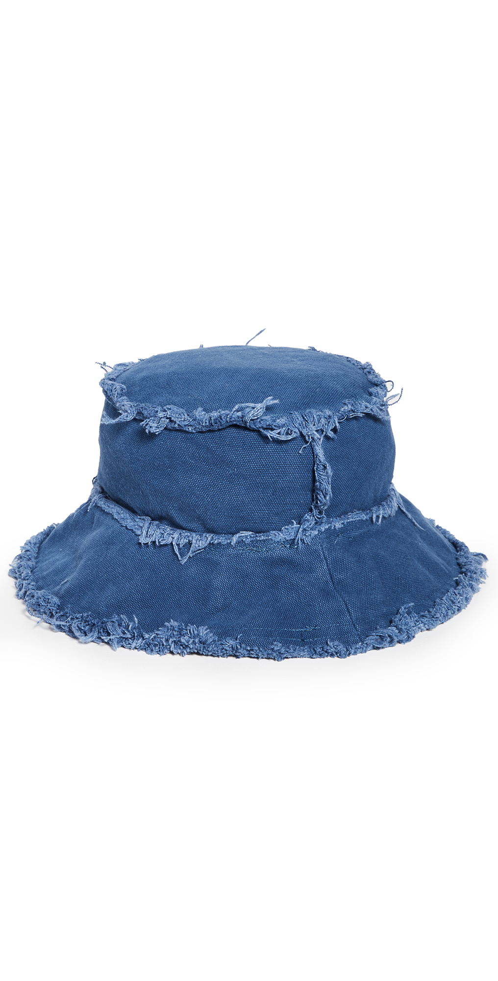Cotton Canvas Bucket Hat with Frayed Edges