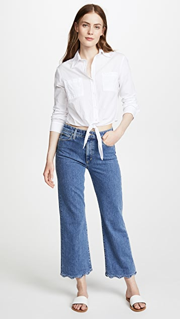 Joe's Jeans Cropped Flares with Wavy Hem